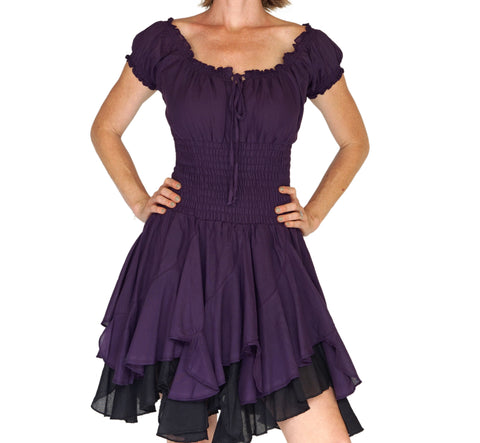 'Willow' Womens Renaissance Costume Gypsy Dress - Purple/Black