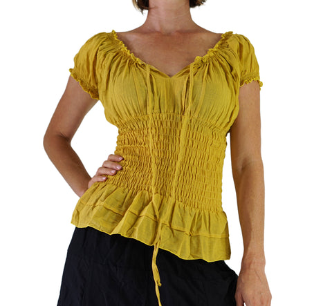 'SS Peasant Blouse, Chemise' - Yellow