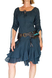 'Bonny Dress' Womens Renaissance Gypsy Gown Pirate Costume - Teal - zootzu