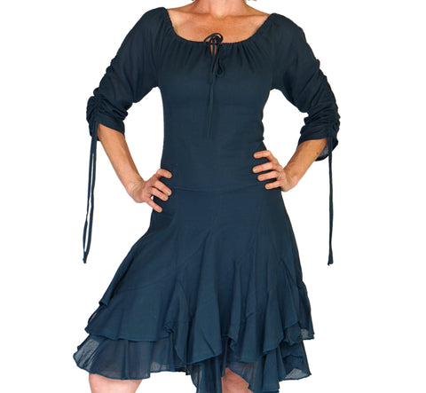 'Bonny Dress' Womens Renaissance Gown Pirate Costume - Teal