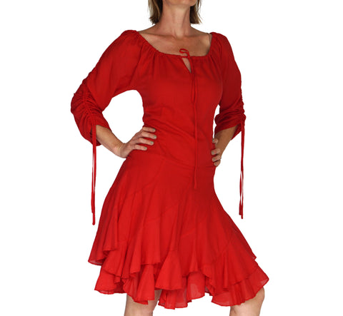 'Bonny Dress' Womens Renaissance Gypsy Gown Pirate Costume - Red