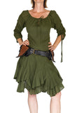 'Bonny Dress' Womens Renaissance Gypsy Gown Pirate Costume - Green - zootzu