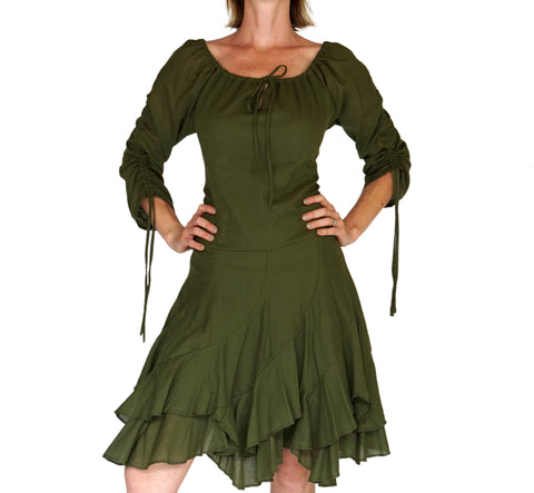 'Bonny Dress' Womens Renaissance Gypsy Gown Pirate Costume - Green