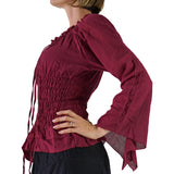'Peasant Blouse' Long Sleeves - Burgundy - zootzu