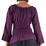 'Peasant Blouse' Long Sleeves - Purple - zootzu