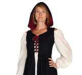 'Womens Duster' Medieval, Viking, Renaissance Bodice - Black/Red - zootzu