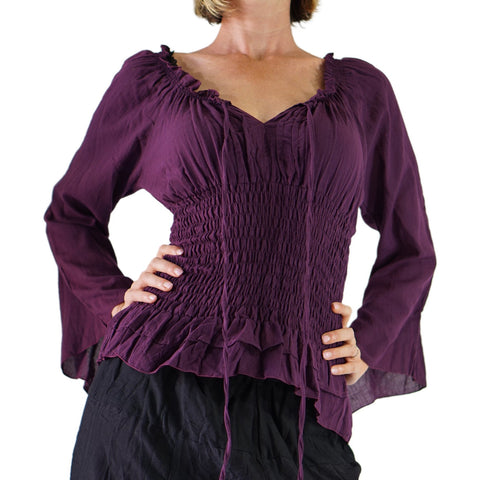 'Peasant Blouse' Long Sleeves - Purple
