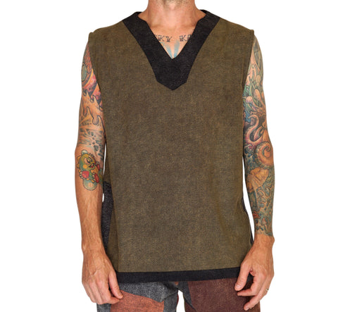 'Freebooter' Medieval Viking Sleeveless Shirt - Green/Gray