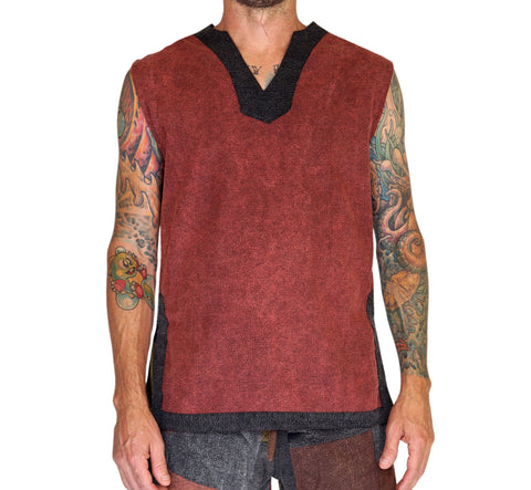'Freebooter' Medieval Viking Sleeveless Shirt - Brown/Gray