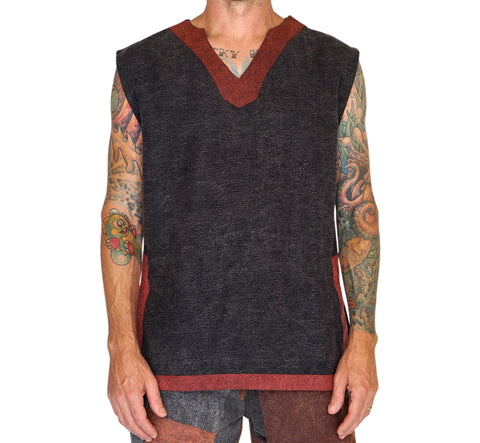 'Freebooter' Medieval Viking Sleeveless Shirt - Gray/Brown
