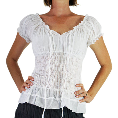 'SS Peasant Blouse, Chemise' - White