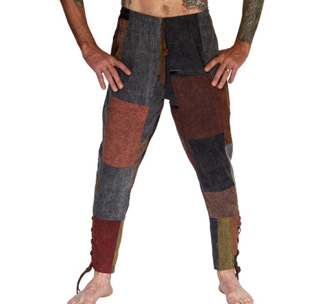 Ankle Cuff Medieval Pants - Stonewashed Patchwork