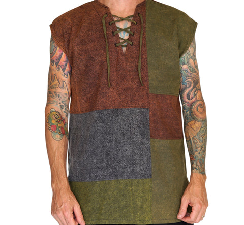 'Rogue' Sleeveless Shirt - Stone Patchwork