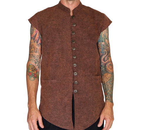 'Scout Vest' Medieval Doublet, Jacket - Stone Brown