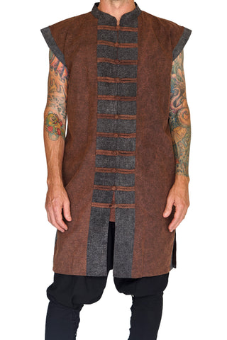Long Pirate Vest - Stonewashed Brown/Brown Buttons