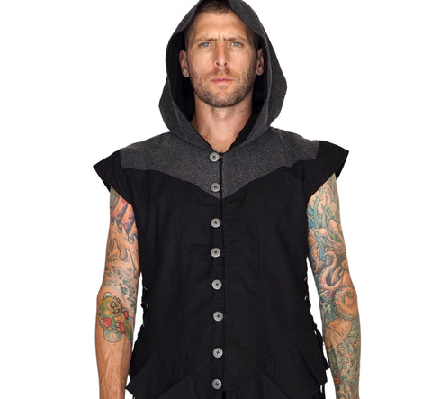 'Hooded Doublet' Steampunk Vest - Black/Stone Black