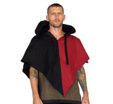 'Hooded Cowl' Two Toned, Medieval Cloak - Red/Black - zootzu