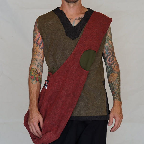 'MONK BAG' Messenger Stone Rust Brown/Fern Green - zootzu
