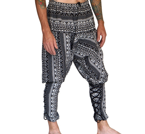 'Scallywag' Pants, Harem, Pirate, Gypsy, Jester, Alladin - Black and White