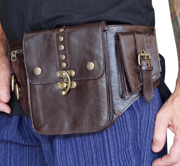 'Satchel Swing Latch' Medieval Leather Utility Belt, Boho  - Brown - zootzu