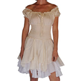 'Willow' Womens Renaissance Costume Gypsy Steampunk Dress - Cream/White
