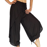 'Split Pants' Rayon, womens pirate pants, harem - Black