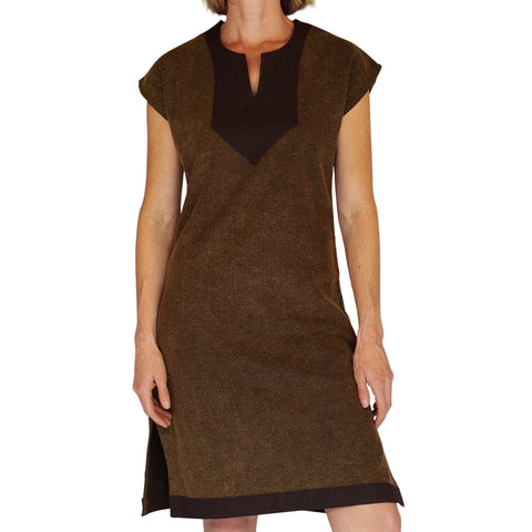 'Astrid' Womens Medieval Viking Princess Shirt/Dress - Stone Brown