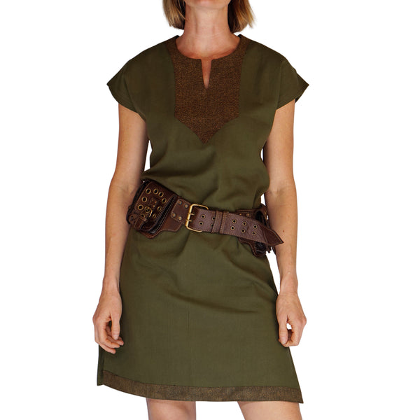 'Astrid' Womens Medieval Viking Princess Shirt/Dress - Green