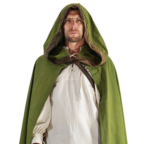 'Hooded Cloak' - Green/ Stone Brown