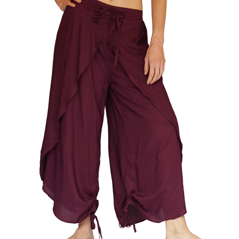 'Split Pants' Rayon, harem womens gypsy, pirate pants - Dark Purple