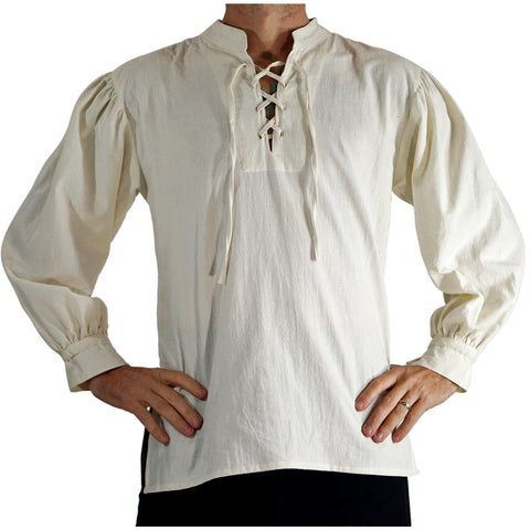 'Merchant' Renaissance Shirt, High Collar - Cream/Off White