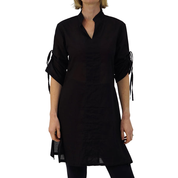 Sage' Long Chemise, Womens Medieval Shirt, Steampunk Costume  - Black