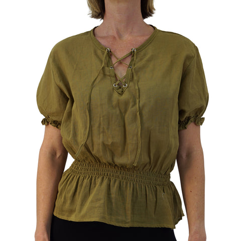 'Dawn' - Peasant Blouse, Medieval Chemise - Light Fern Green/Mustard