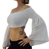 'Pixie Shirt' Womens Belly Showing Top Peasant Blouse - White