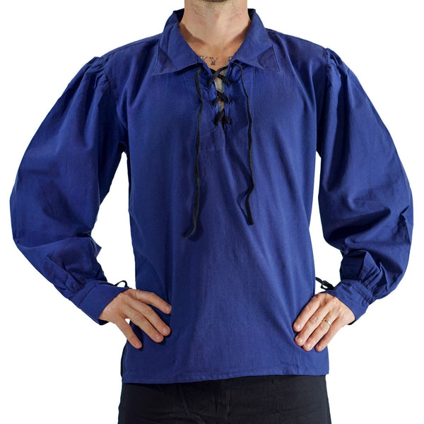 'Merchant' Renaissance Shirt - Dark Blue - zootzu