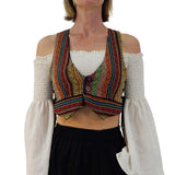 'Petal Vest' Pirate, Boho Vest, Womens Renaissance Festival Costume - Colorful