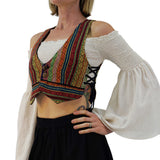 'Pixie Shirt' Womens Gypsy Belly Showing Top Peasant Blouse - Cream