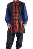 Long Pirate Vest, Silk Trim - Red - zootzu