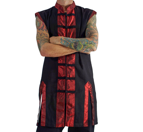 Long Pirate Vest, Silk Trim - Red