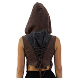 'Sprite' Womens Hooded Medieval Renaissance Vest Boho  - Stone Black/Purple