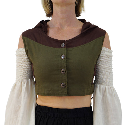 'Sprite' Womens Hooded Medieval Renaissance Vest Boho  - Green/Brown