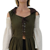 'Womens Duster' Medieval, Viking Princess, Renaissance Gown - Green/Brown