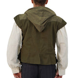 'Hooded Doublet' Mens Steampunk Vest, Jerkin - Green
