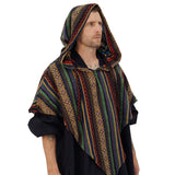 'Hooded Cowl' , Medieval Half Cloak, Shawl, Ranger -  Darker Artistic Pattern