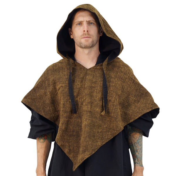 'Hooded Cowl' Medieval Ranger Half Cloak  - Raw Cotton Stone Brown