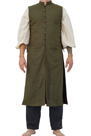 'Medieval Duster' Renaissance Festival Costume Doublet Jerkin - Green/Brown