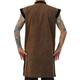 'Long Pirate Vest' Medieval Period Clothing - Stone Brown Metal Buttons