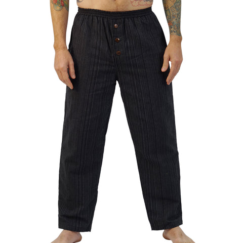 'Corsair' Straight Leg Peasant, Pirate Pants - Striped Black