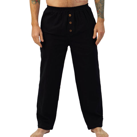'Corsair' Mens Straight Leg Peasant, Pirate Pants - Black