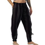 'Ankle Cuff' Medieval Pirate Pants Thick Vertical Stripes - Black/Stone Gray